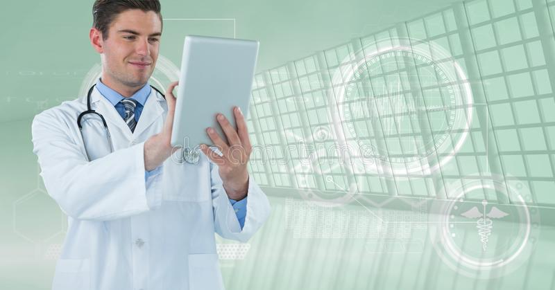 Happy doctor with his tablet. Digital composite of Happy doctor with his tablet royalty free stock image