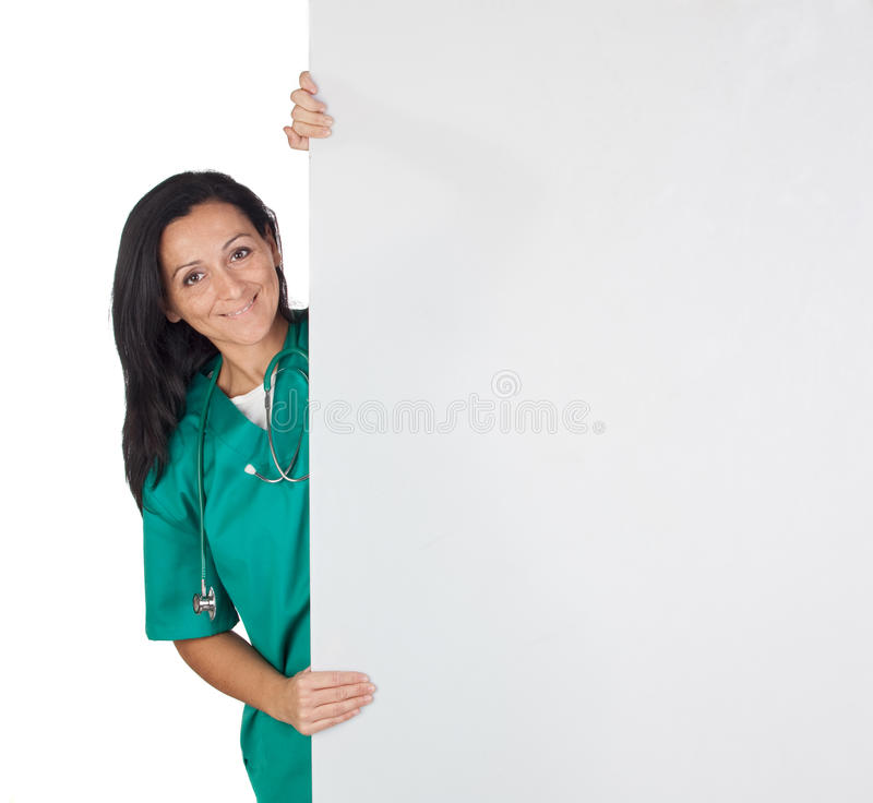 Happy doctor woman with a blank poster royalty free stock photos