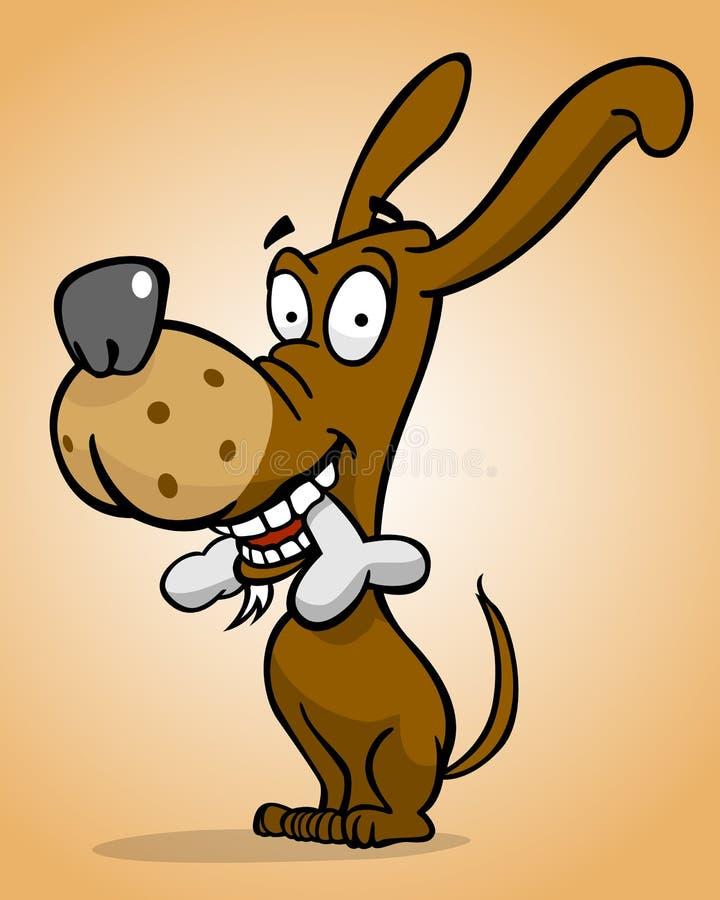 Happy dog with bone stock illustration