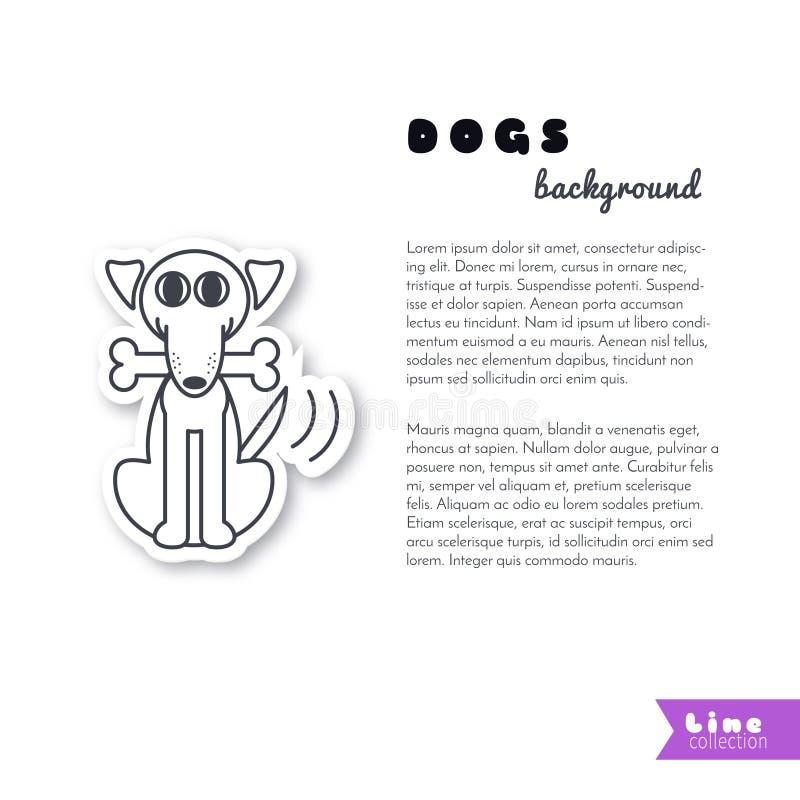 Happy dog with a bone background royalty free illustration