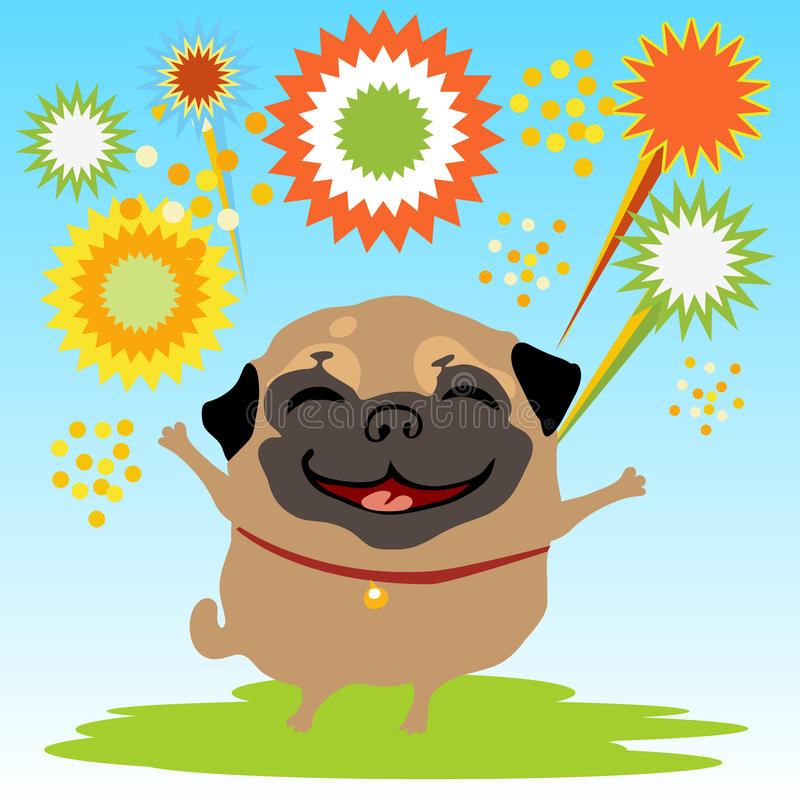 A happy dog with fireworks on the nature. A happy dog with fireworks on the background of grass and sky stock illustration