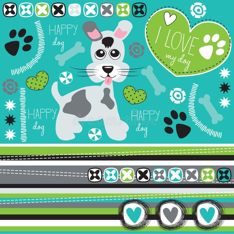 Happy dog with paw print and bone illustrat royalty free illustration
