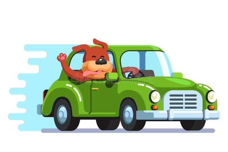 Happy dog riding retro passenger car having fun vector illustration