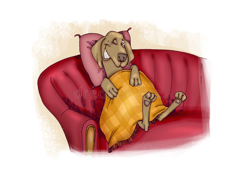 Happy dog on sofa royalty free illustration