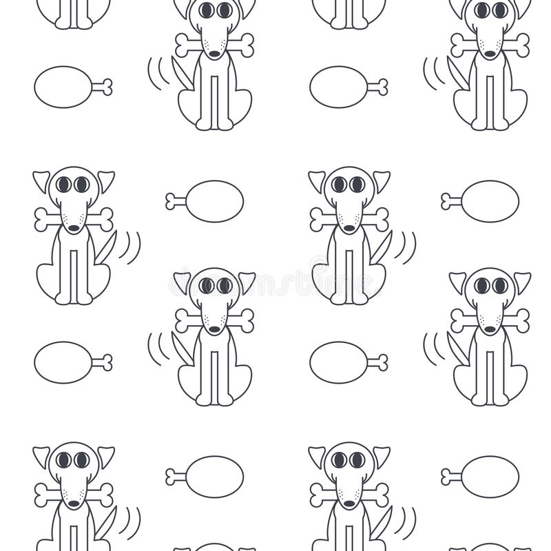 Happy dogs with bone seamless pattern. vector illustration