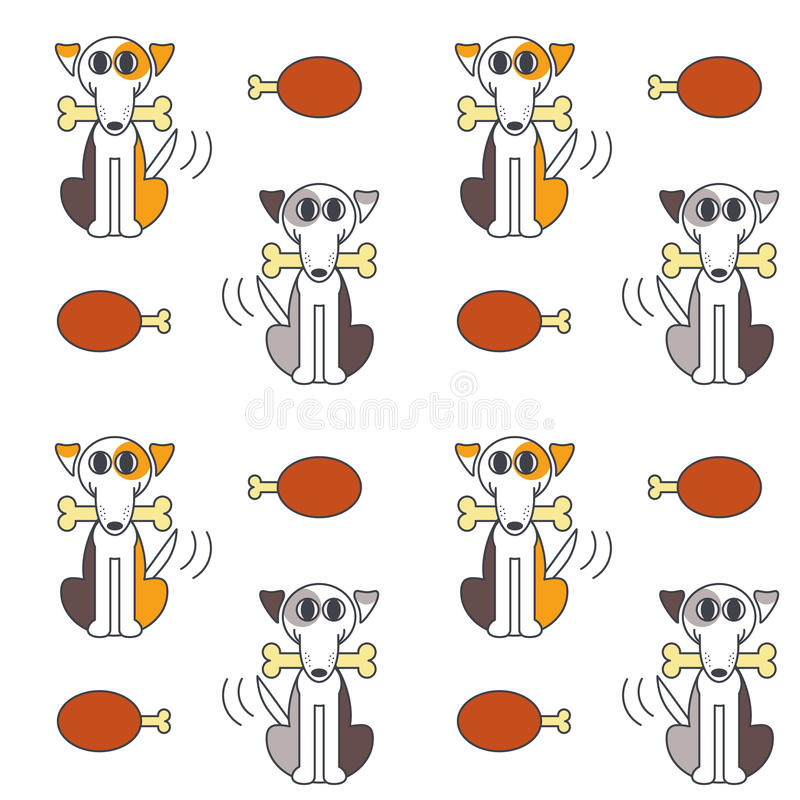 Happy dogs with bone seamless pattern. royalty free illustration