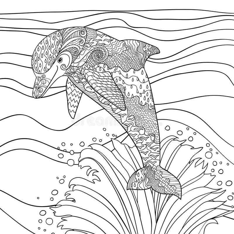 Happy dolphin with high details. royalty free illustration