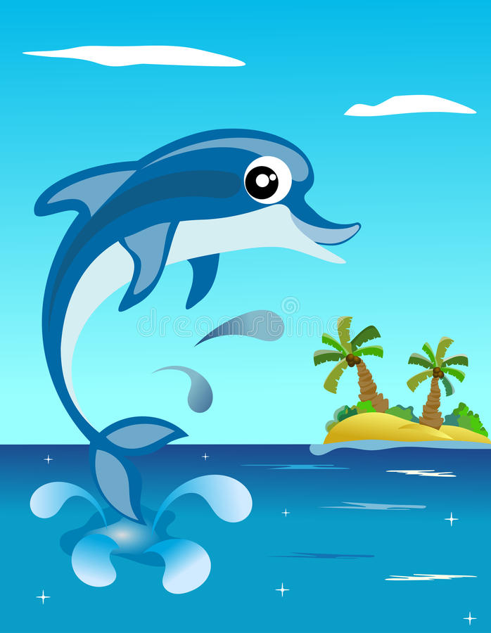 Download Happy Dolphin Jumping stock vector. Image of marine, island - 30493118