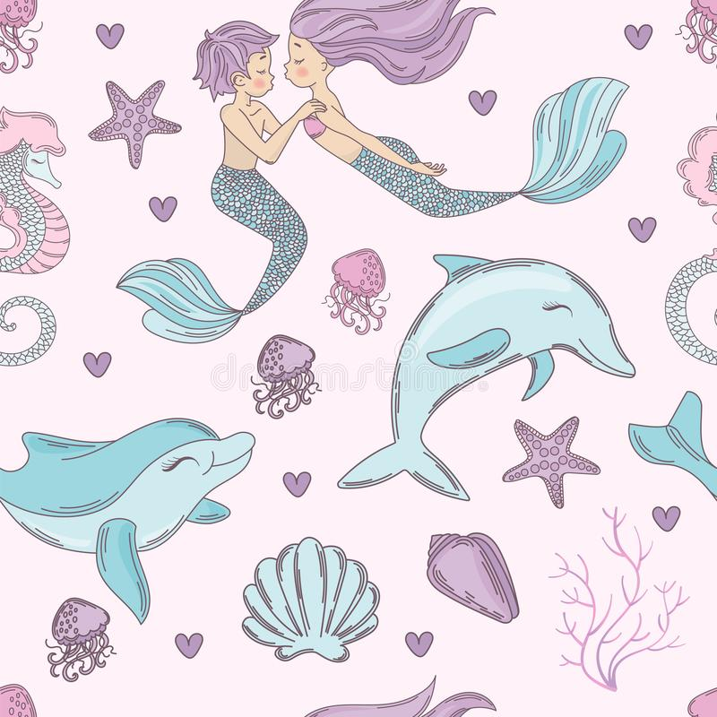 Free HAPPY DOLPHIN Mermaid Seamless Pattern Vector Illustration Royalty Free Stock Images - 139603989