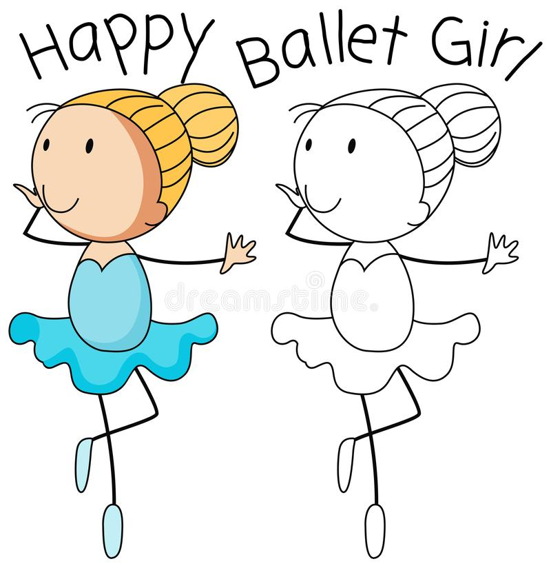 Happy doodle girl dance. Illustration vector illustration
