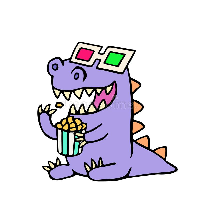 Happy dragon anaglyph glasses and a box of popcorn. Vector illustration. royalty free illustration