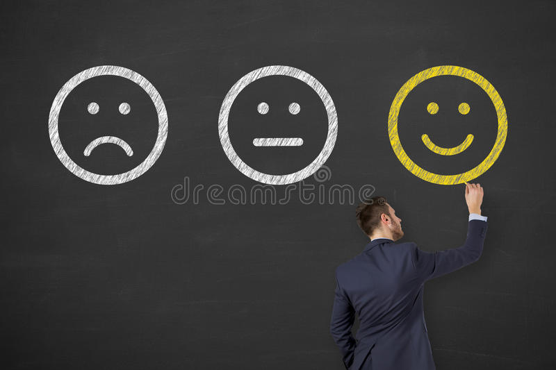 Happy Drawing on Chalkboard Background stock images