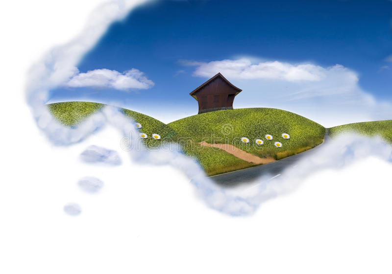 Happy dream. Cloud field with the cottage vector illustration