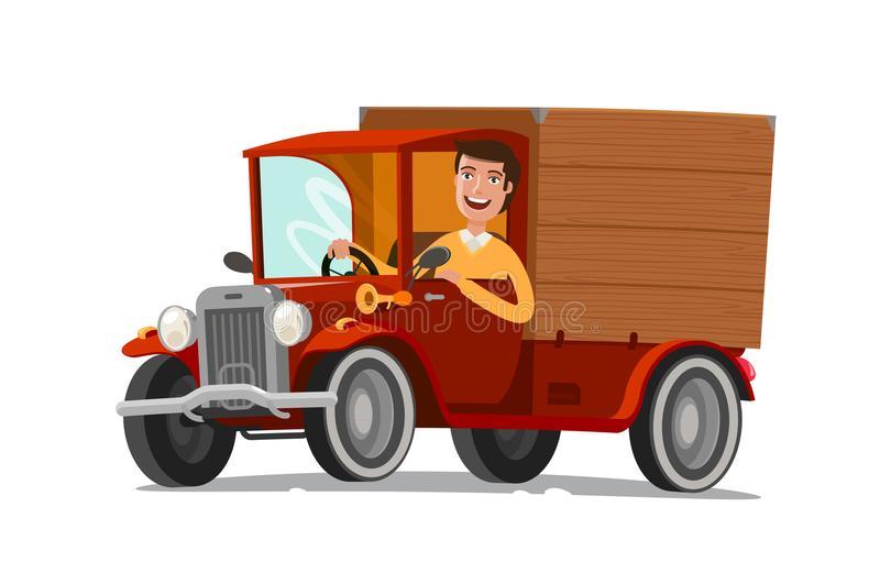 Happy driver rides on retro truck. Delivery, farming, concept. Cartoon vector illustration. Isolated on white background royalty free illustration