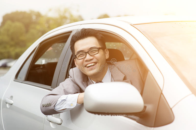 Happy driver smiling stock image