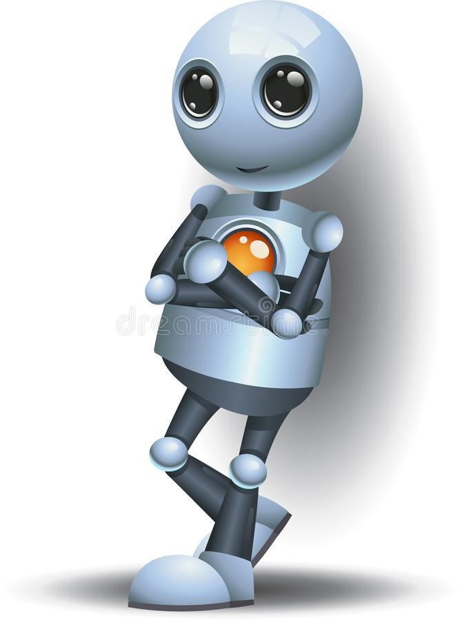 Happy droid cool little robot standing on isolated white vector illustration