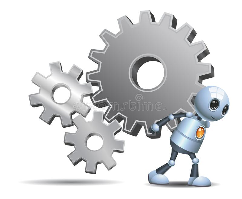 Happy droid little robot carry gears on isolated white stock illustration