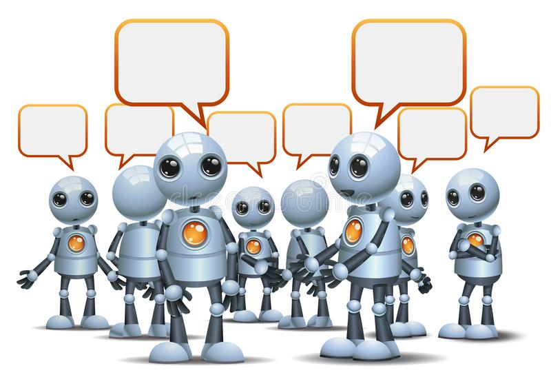 happy droid little robot chatting on isolated white royalty free illustration