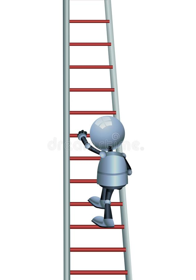 happy droid little robot climbing stair on isolated white royalty free illustration