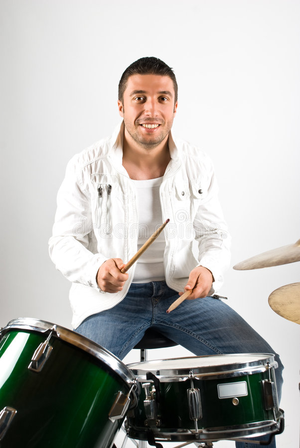 Happy drummer royalty free stock photos