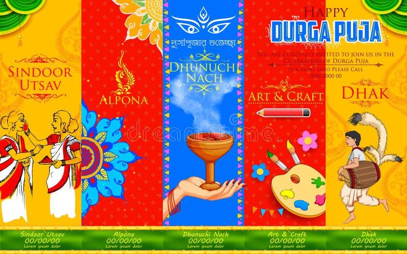Happy Durga Puja background. Illustration of goddess Durga in Happy Durga Puja background with different events like Sindoor Utsav( play with vermillion), Alpona stock illustration
