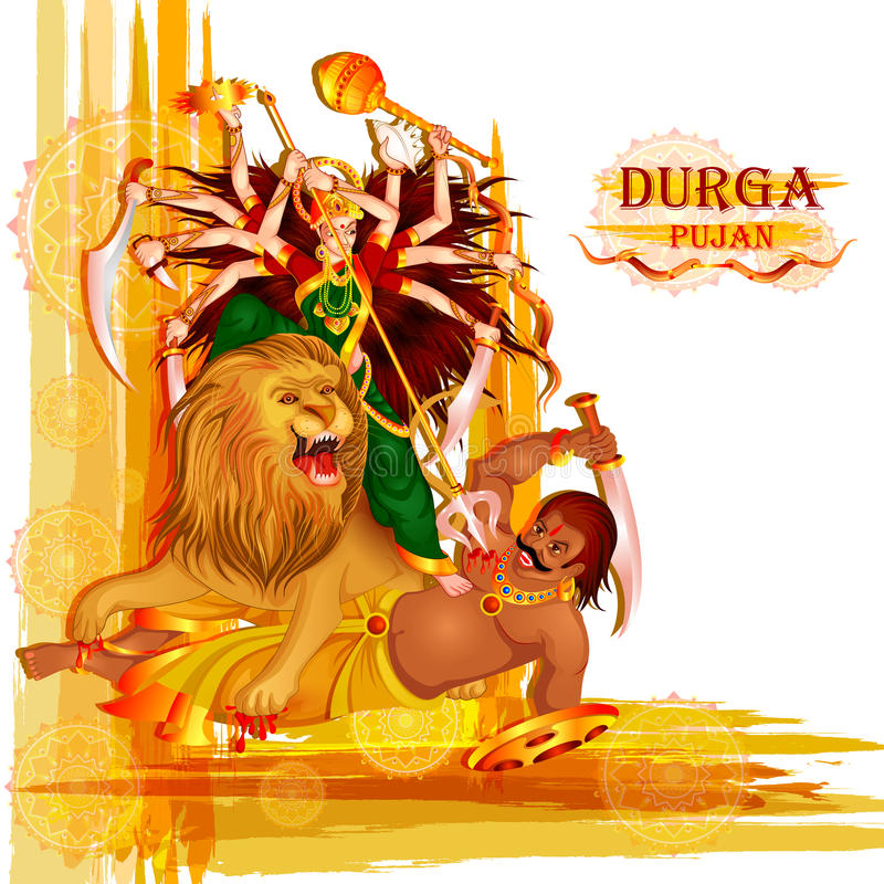 Happy Durga Puja festival background for India holiday Dussehra vector illustration