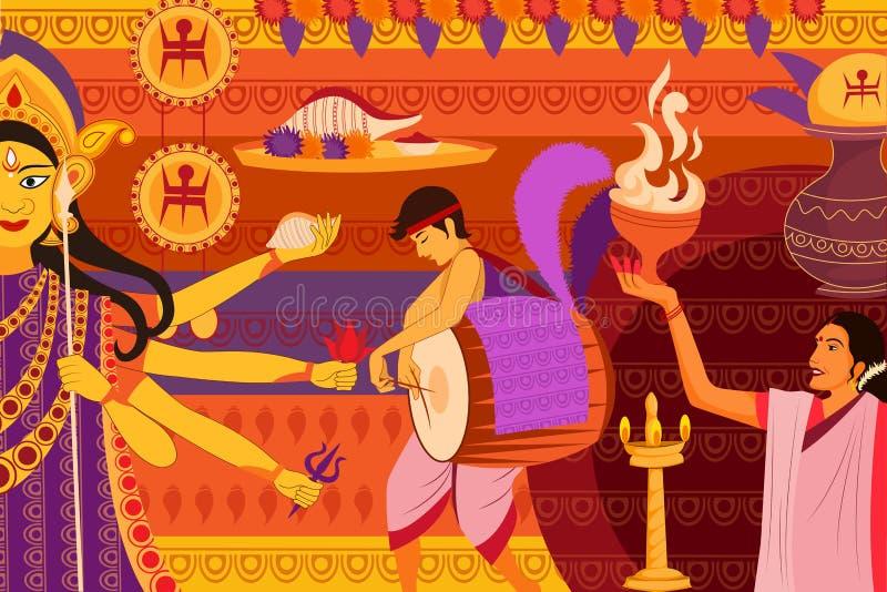 Happy Durga Puja festival background kitsch art India stock illustration