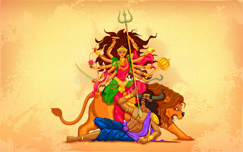 Happy Dussehra with goddess Durga stock illustration