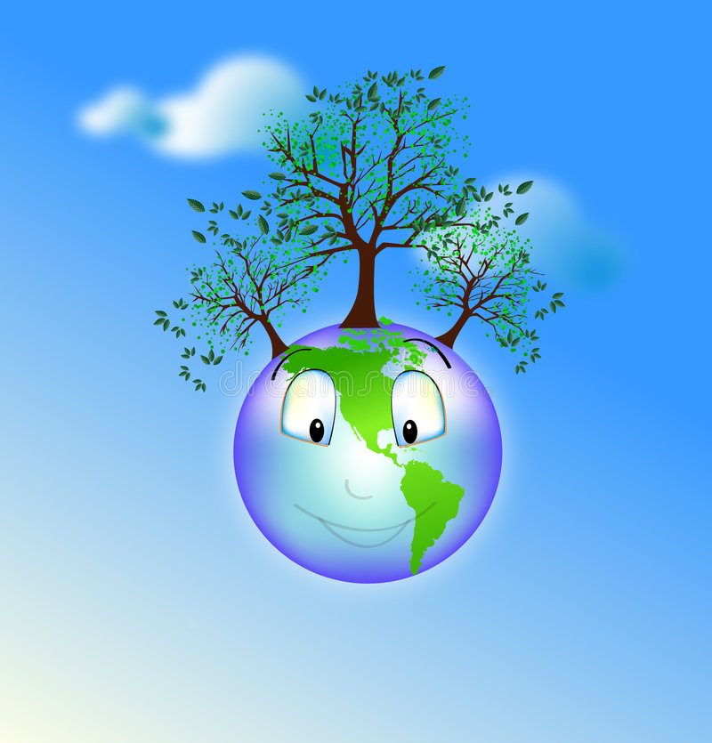 Happy earth vector illustration