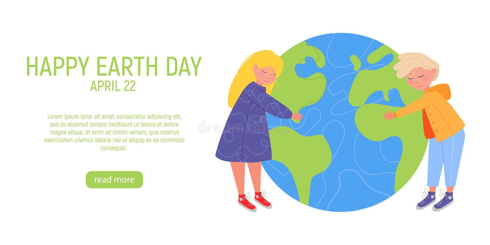 Happy Earth Day Banner. Little cute boy and girl are hugging planet. World environment day background. Save the earth. Green day. Vector illustration vector illustration