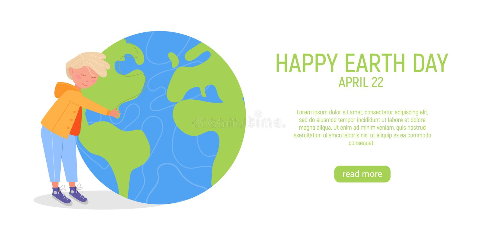 Happy Earth Day Banner. Little cute boy is hugging planet. World environment day background. Save the earth. Green day. Vector illustration vector illustration