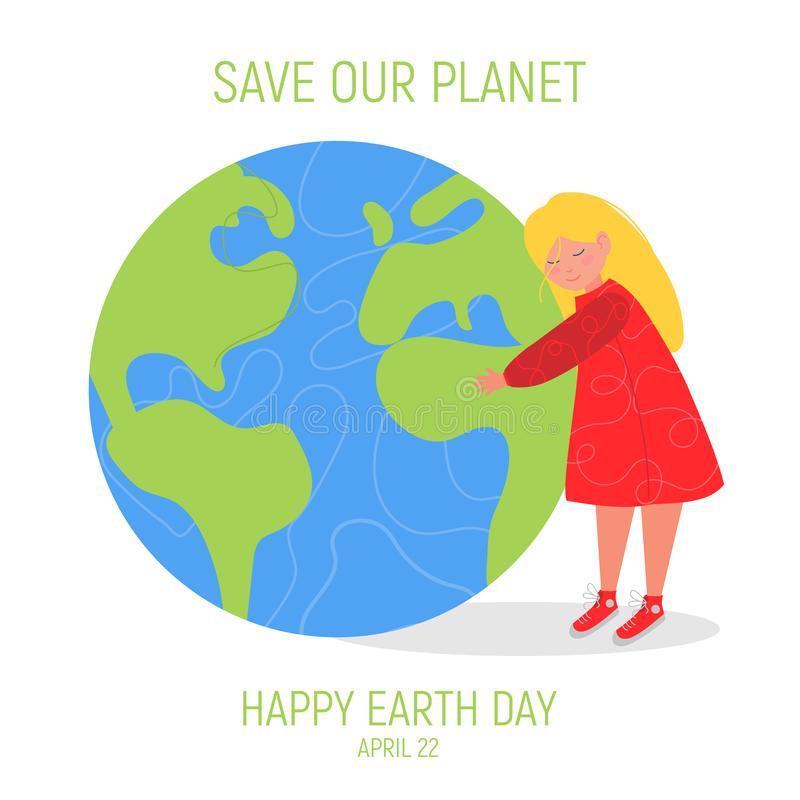 Happy Earth Day Banner. Little cute girl is hugging planet. World environment day background. Save the earth. Green day. Vector illustration royalty free illustration