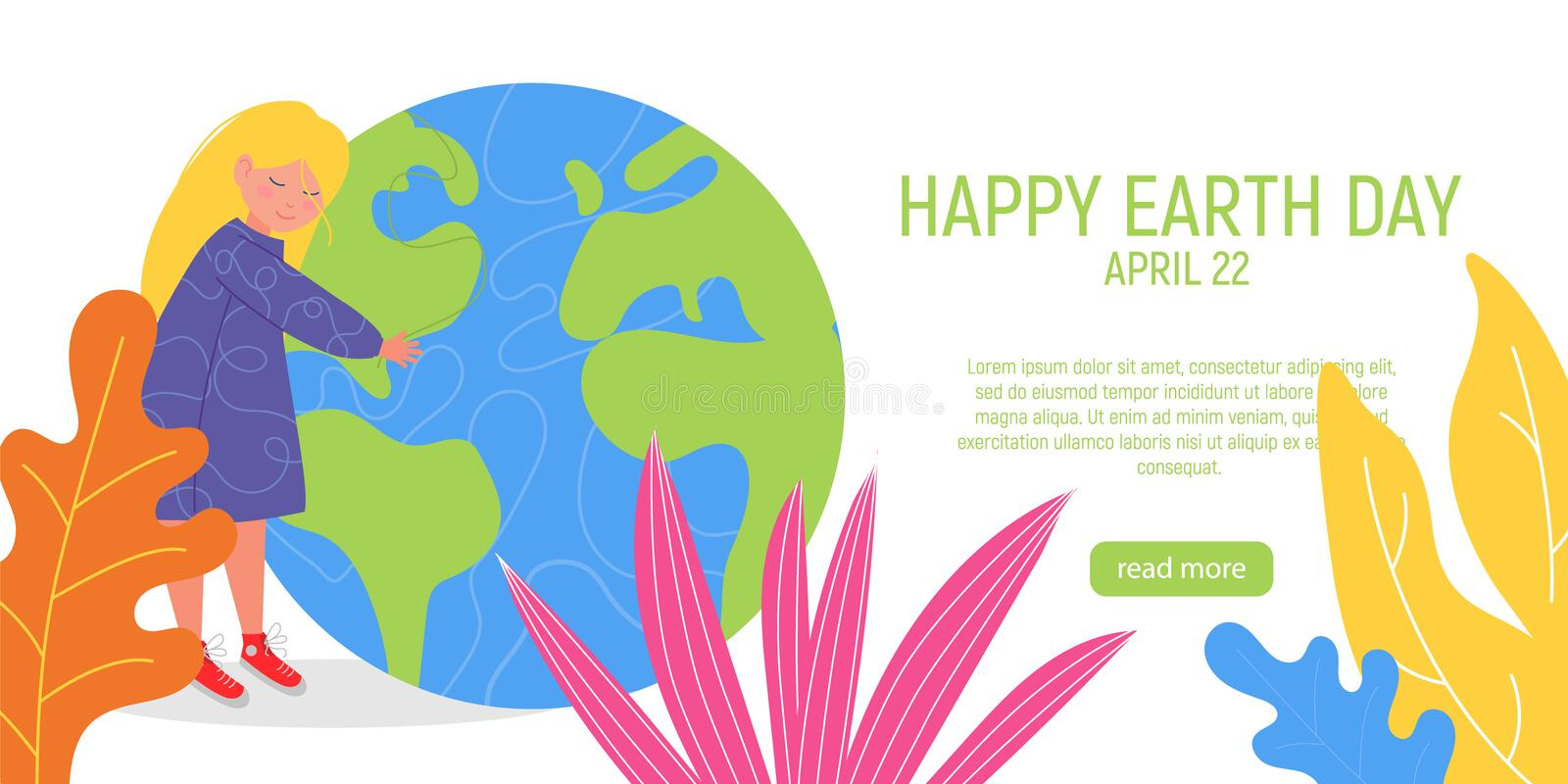 Happy Earth Day Banner. Little cute girl is hugging planet. World environment day background. Save the earth. Green day. Vector illustration stock illustration