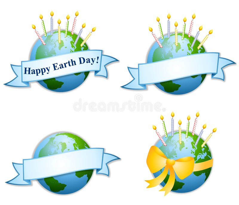 Download Happy Earth Day Birthday Candles 2 Stock Illustration