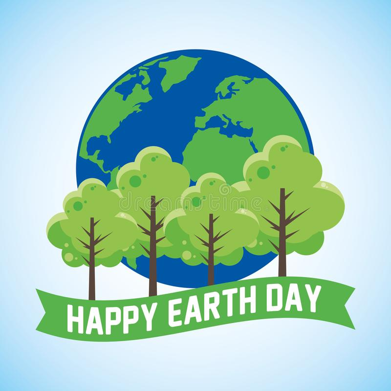 Happy earth day card. With green cartoons vector digital image illustration vector illustration