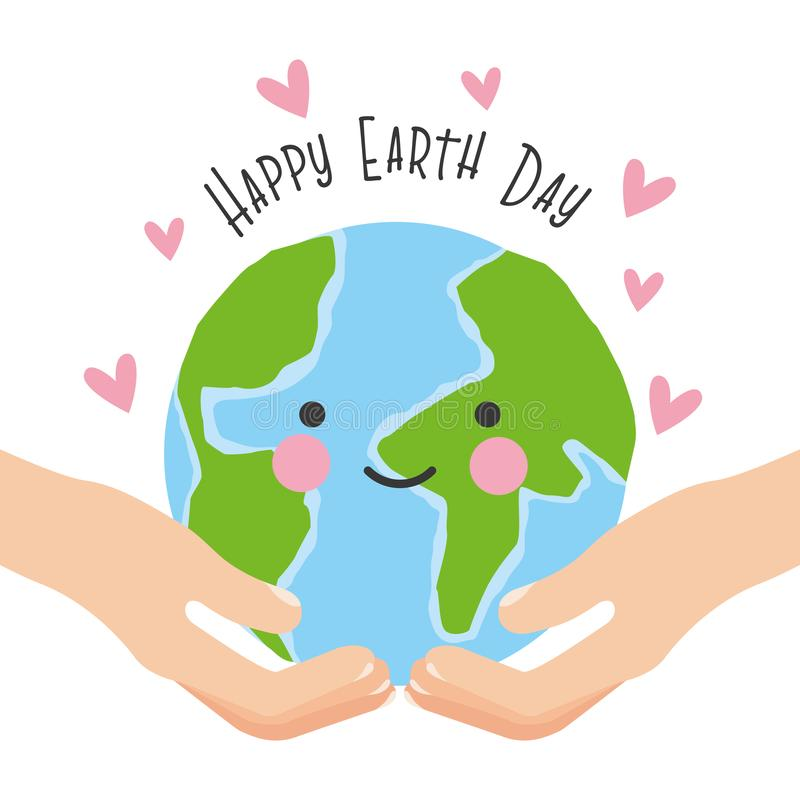 Happy earth day card. With green cartoons vector digital image illustration stock illustration