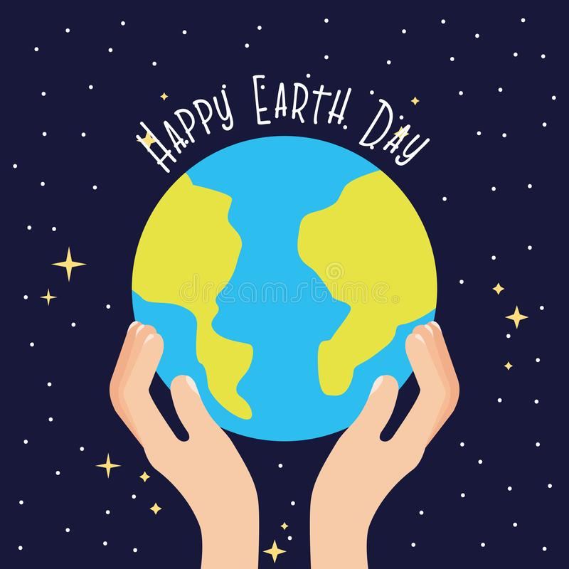 Happy earth day card. With green cartoons vector digital image illustration royalty free illustration