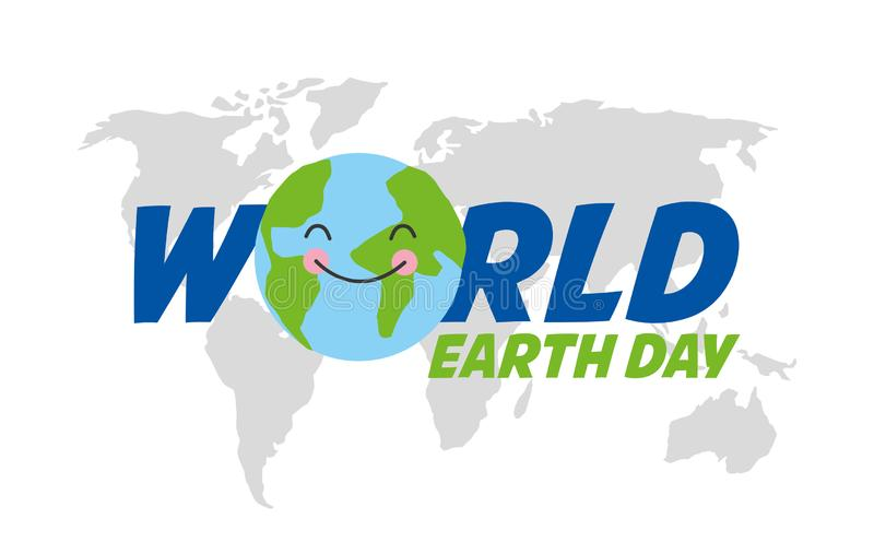 Happy earth day card. With planet earth vector digital image illustration vector illustration