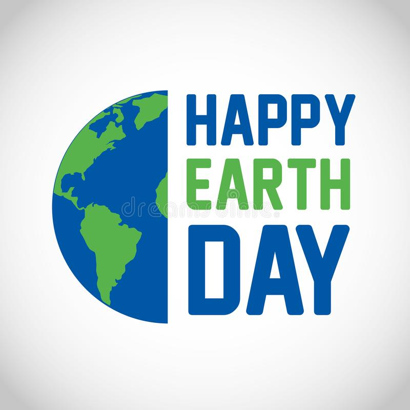 Happy earth day card. With planet earth vector digital image illustration stock illustration