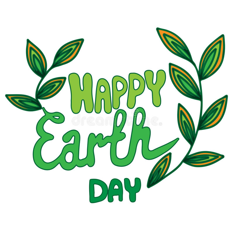 Happy Earth Day green lettering with leaves on the white background royalty free illustration