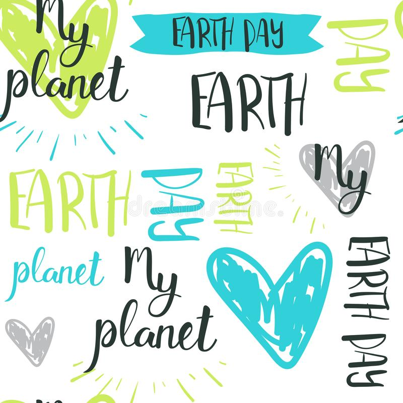 Happy Earth Day Hand Drawn Lettering Seamless Pattern Background stock illustration