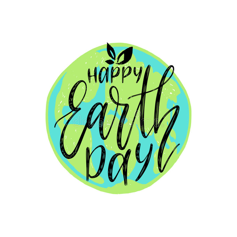 Happy Earth Day hand lettering on globe map background. Vector illustration with leaves for greeting card, poster, etc. Happy Earth Day hand lettering on globe vector illustration