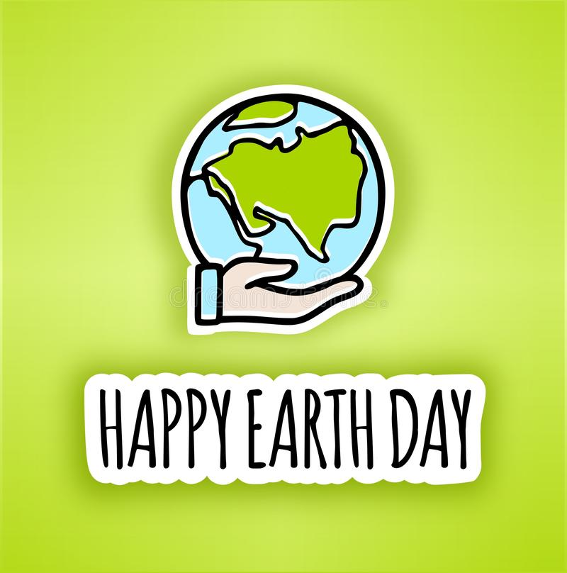 Happy Earth day poster.Hand-drawn Earth in Hand. Line vector icon of the Earth. Vector planet Earth icon in hand .Let`s save the Earth, Ecology concept stock illustration