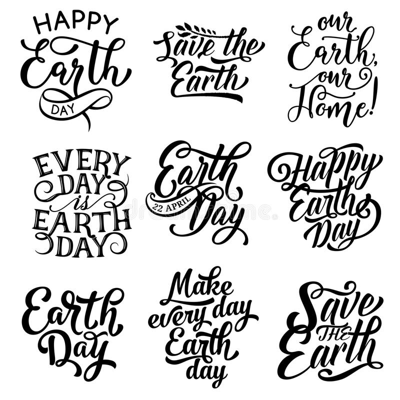 Happy Earth Day Save Planet Text Vector Icons Stock Vector