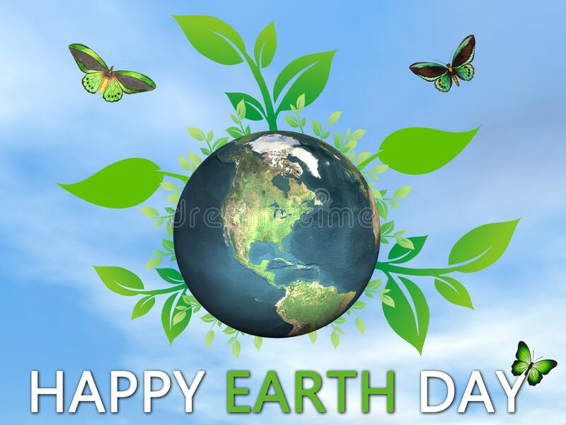 Happy Earth Day to save and protect our planet - 3D render vector illustration