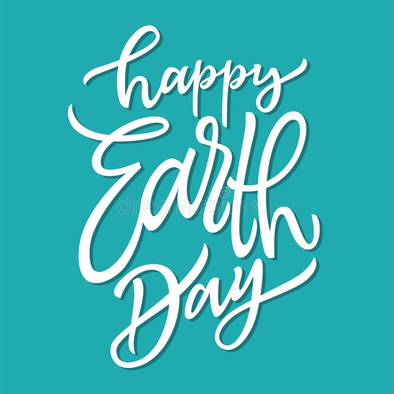 Happy Earth Day - vector hand drawn brush pen lettering vector illustration