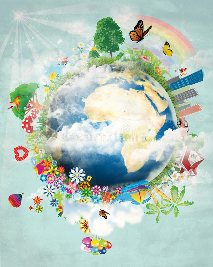 Happy earth design. COmpilation of different elements showing the earth. can be used for greeting card or earth day design stock illustration