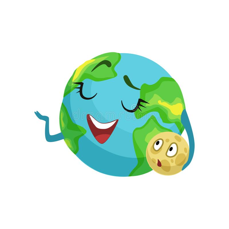 Happy Earth planet character holding moon in its hand, cute globe with smiley face and hands vector Illustration royalty free illustration