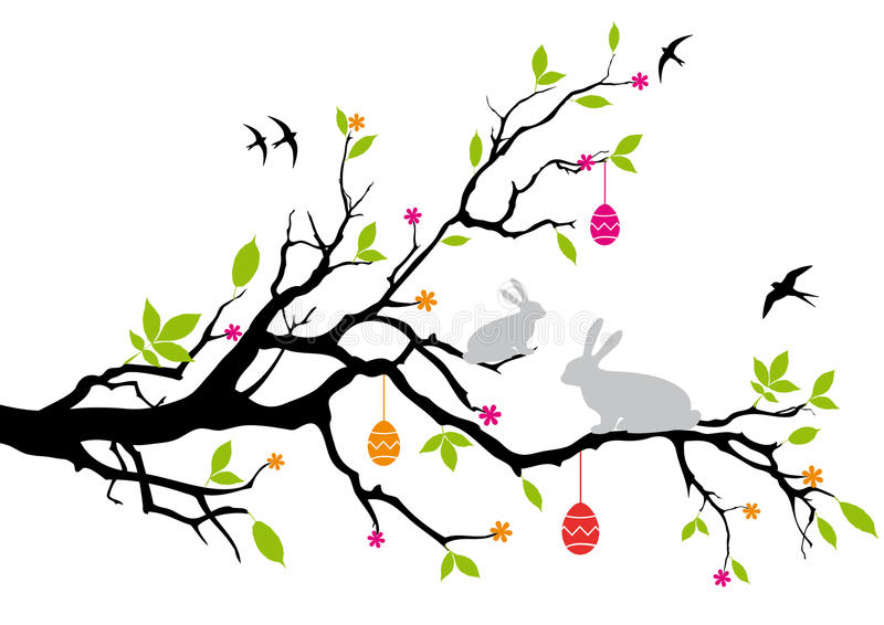 Happy easter. Easter bunnies sitting on a spring tree