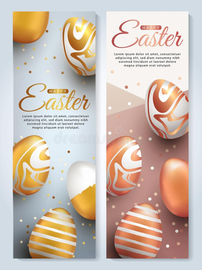 Easter vertical banners with gold and rose gold ornate eggs and confetti. vector illustration